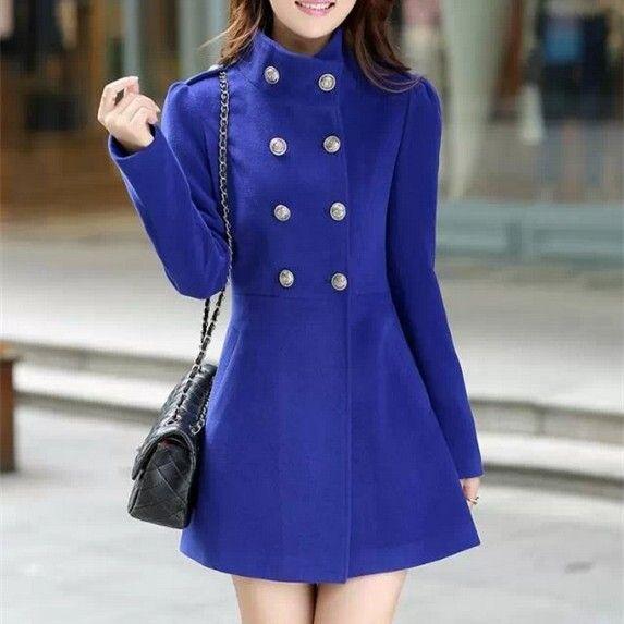 2015 inverno cappotto donna blu di lana casual lungo tratto giacca desigual casacos femininos cappotti xxl