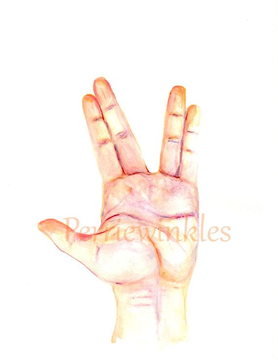 Giclee PrintASL Art, Sign Language Art, Watercolor Painting, Watercolor Print, Trekkie, ASL, Sign Language, Star Trek, Spock, Spock Hand  This listing is for print only, frames and props are not included. Watermark will not be on purchased print.  This listing is for a Chromogenic Photographic Print of one of my original paintings.   Add a touch of cool fun to your home with this Awesome Vulcan Greeting print of my original watercolor painting. Select your preferred size from the drop down…