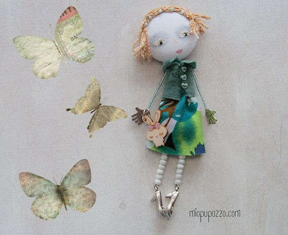 reserved for Michelle. Art Doll Brooch Girl and her by miopupazzo
