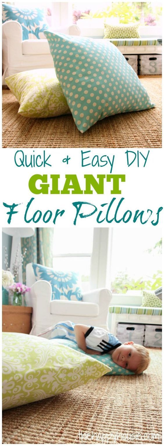 Awesome tutorial on how to make these quick and easy DIY Giant Floor Pillows in only minutes at thehappyhousie.com