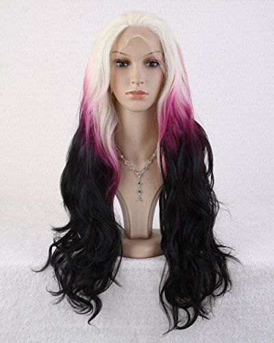 Cool2day® 65cm Long Curly Anime Costume Colorful Hair Heat Resistant Lace Front Wig +Wig Cap LS20 cool2day