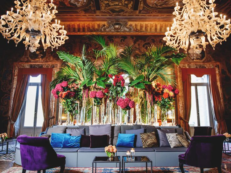 Exotic plants for a welcome party at Villa Erba. by @TheLakeComoWeddingPlanner