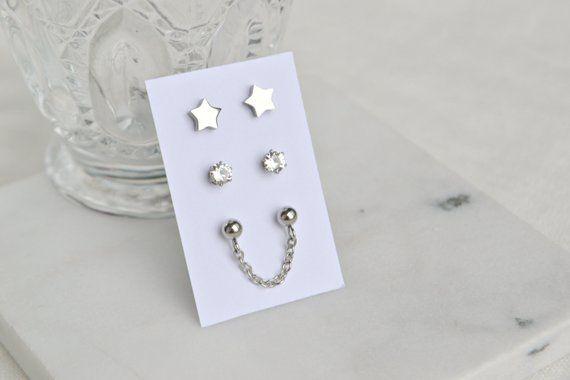 Moon and Stars Earrings Celestial Jewelry Stud Earrings Hypoallergenic Stainless Steel Stud Earrings
