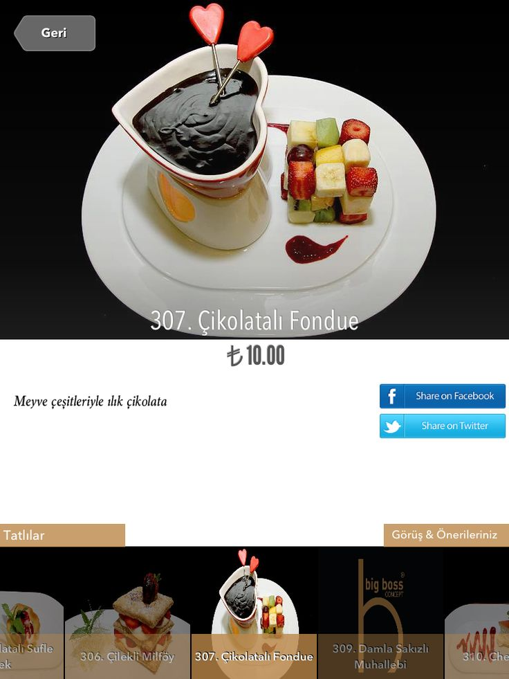 Food photography in iPad Restaurant Menus. Big Boss Concept. Istanbul. Chocolate Fondue.