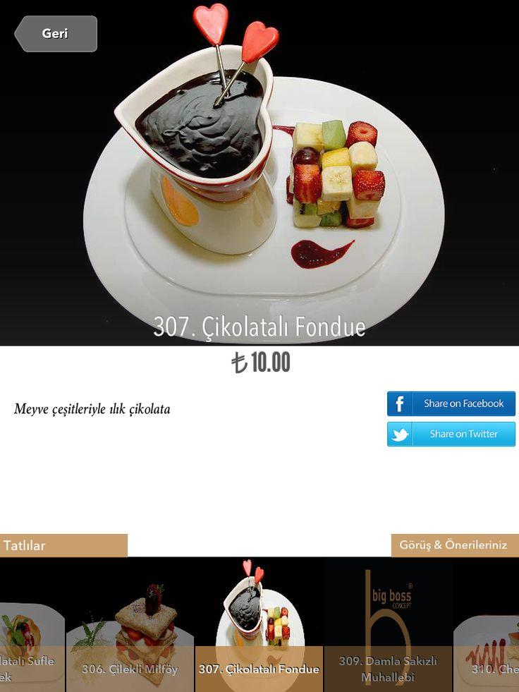 Food photography in iPad Restaurant Menus. Big Boss Concept. Istanbul. Chocolate Fondue.