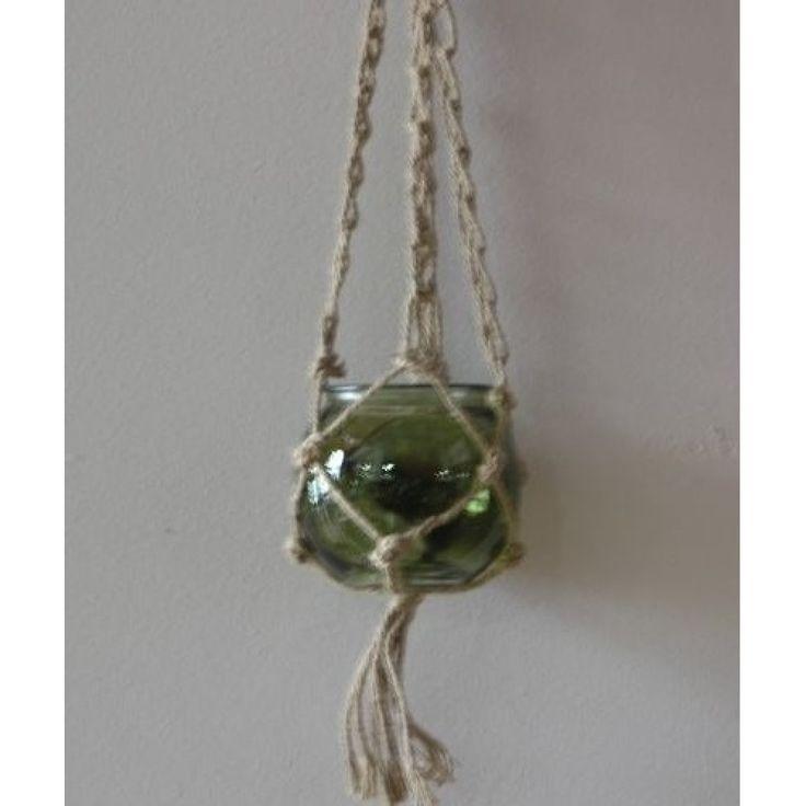 Φανάρι γυάλινο πράσινοκρεμαστό με σχοινί Διάμετρος 18 Χ Ύψος 15cm