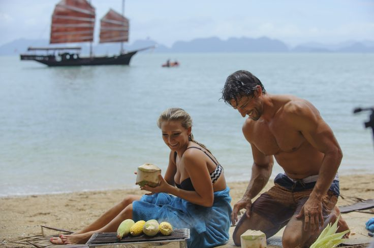 He cuts the top off coconuts so you can drink the water: http://tenplay.com.au/channel-ten/the-bachelor/photos/finale-behind-the-scenes