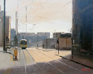 Lower Mosley Street Tram, Manchester by artist Michael John Ashcroft. #cityscapepainting found on the FASO Daily Art Show - http://dailyartshow.faso.com