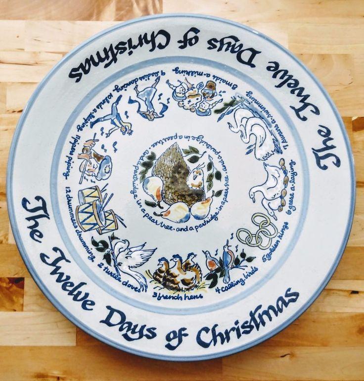 "LOUISVILLE STONEWARE Twelve 12 Days of Christmas Round Platter Chop Plate 14"" in"