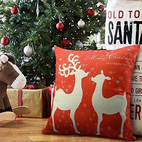 "Christmas Cushion Cover 18"" Decorative Cotton Linen Deer Design Xmas Case Red #easy_shopping08"