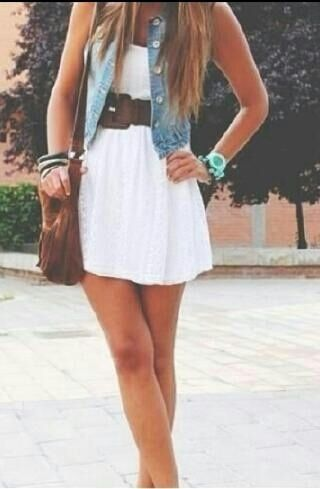 Jean Vest With Cute White Dress, this would be cute with some leggings, a scarf, boot covers, and boots for fall! And replace the vest with a jean jacket(;