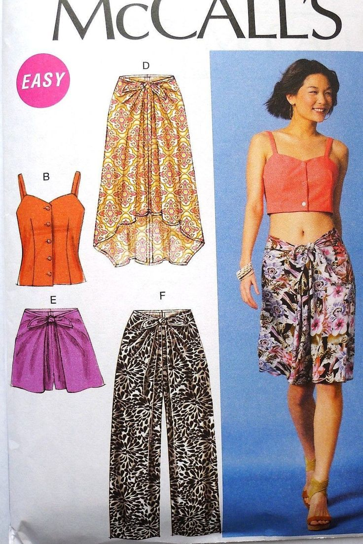 McCalls M6968 Womens Plus Palazzo Pants Sarong Skirt Fitted Bodice Shorts 14 16 18 20 22 Uncut OOP by SanctuaryofStyle on Etsy