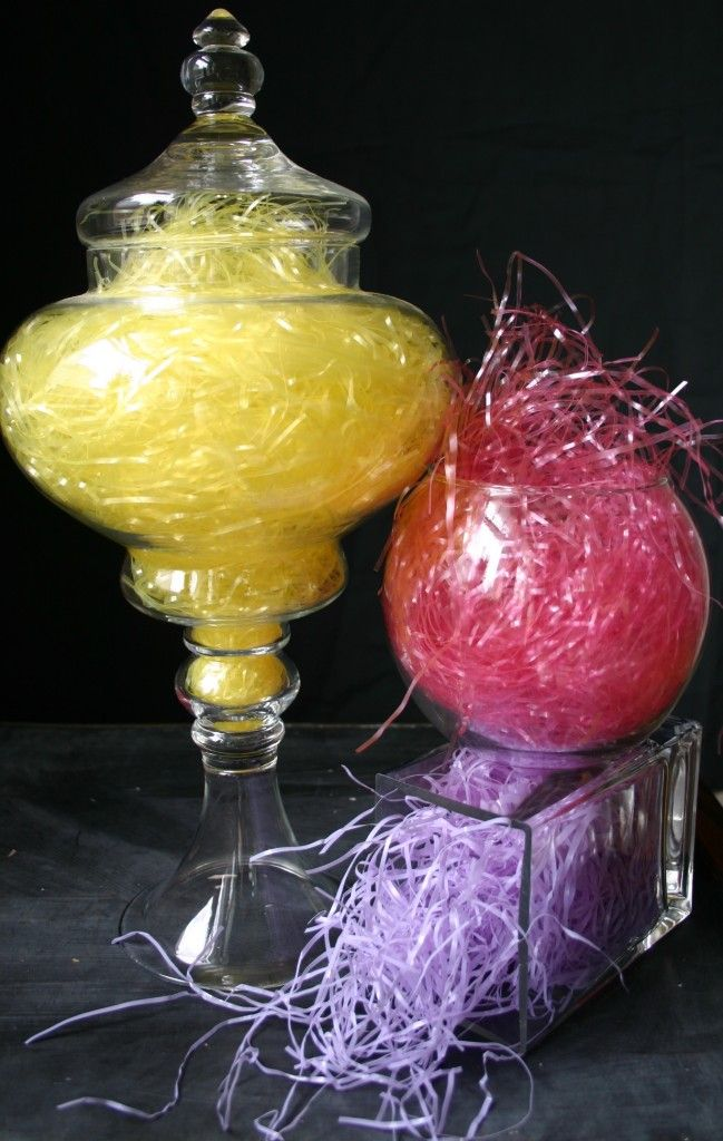 Fast, Simple, Easy and Unique -- makes for a great Spring decor or Easter.  Change up the grass with Christmas colors and throw in some battery operated light strands and you take it to another level.