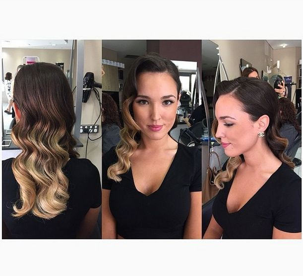 Ombre colour on a brown base, vintage curls over one shoulder for a very glam style for formals, weddings, engagements etc. www.hairbyphd.com.au