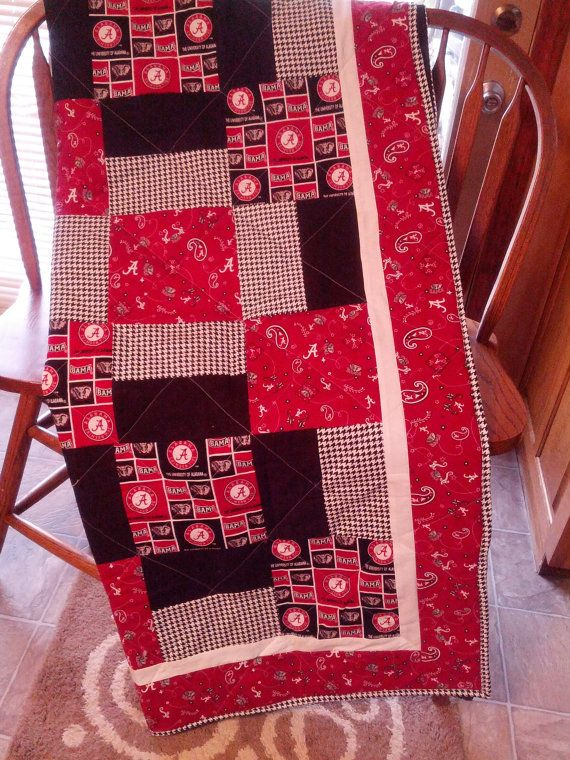 University of Alabama Quilt has loads of color.The colors include the Alabama prints along with matchine prints to accent the Alabama fabric and