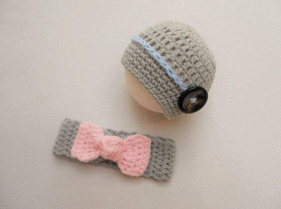Boy Girl Twin Set, Top knot headband, Baby boy crochet hat, Crochet knot headband, Grey/Pink/Blue,Twins photography prop,Twins, UK Seller