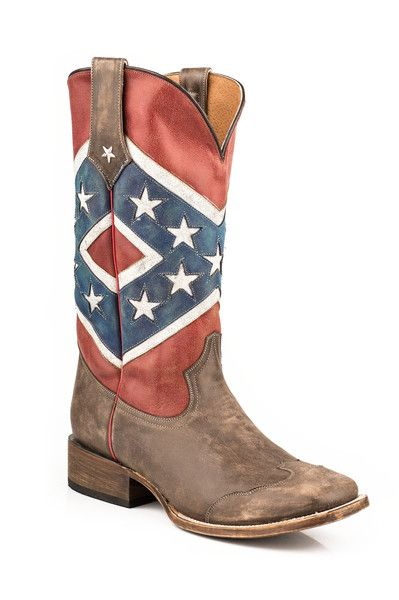 "Rebel Flag Cowboy Boot Square Toe Double Welt Stitch Walking Heel Uniquely Distressed Leather Colors 13"" Shaft All Leather Lining Cushioned Insole Stitched Pull"