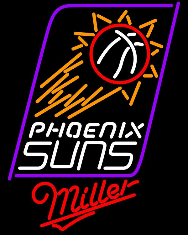 Miller Phoenix Suns NBA Neon Sign, Miller with NBA Neon Signs | Beer with Sports Signs. Makes a great gift. High impact, eye catching, real glass tube neon sign. In stock. Ships in 5 days or less. Brand New Indoor Neon Sign. Neon Tube thickness is 9MM. All Neon Signs have 1 year warranty and 0% breakage guarantee.