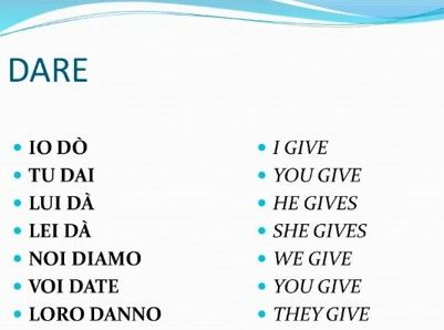 Verbi italiani irregolari - DARE (dati - to give):