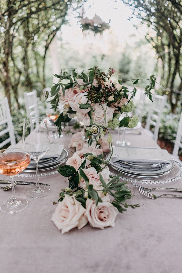 Blush Garden Rose and Peony Floral Table Runner