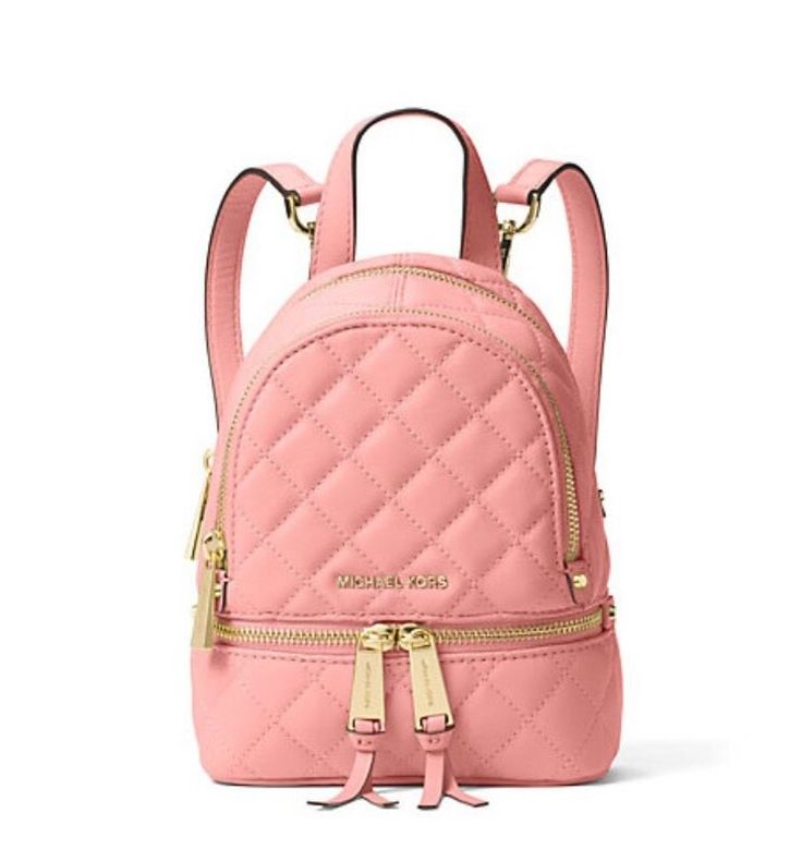 c65fceb74908 Michael Kors Extra Small Mini Rhea Zip Quilted Messenger Backpack Pale Pink