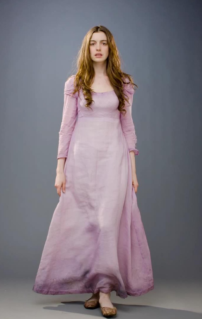 Anne Hathaway as Fantine-she really earned the Oscar.  Fantine wears a simple lavender dress with no embellishment- anything else would take away from the character.