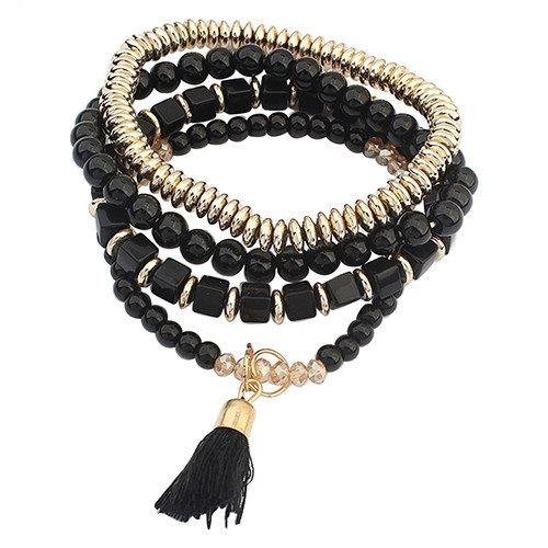 Набор браслетов черного цвета