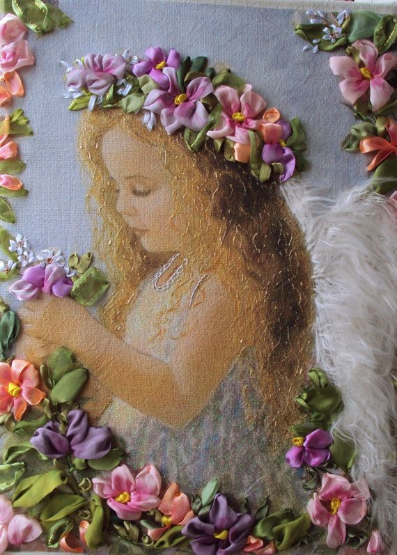 """picture """"Angel of God"""",  Silk ribbon embroidery"""