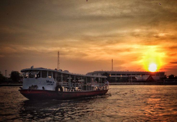 Sunset at the Chao Phraya river, Bangkok Thailand.