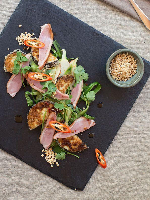 Smoked Duck Salad with Panko Eggplant, Apple and Pak Choy
