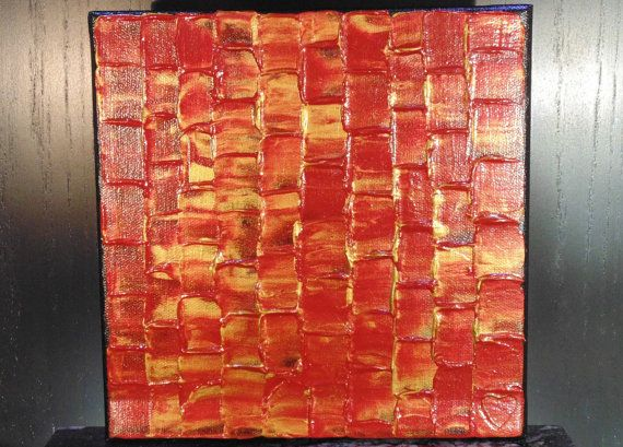 Red & Gold Abstract Square Painting 8x8 by LoveHandyWork on Etsy