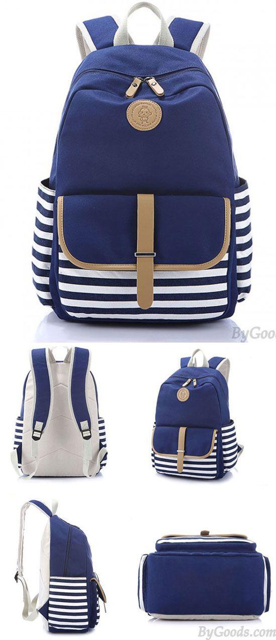 Simple Stripe Backpack Canvas School Bag Travel Bag for big sale! #backpack #stripe #bag #school #college #travel