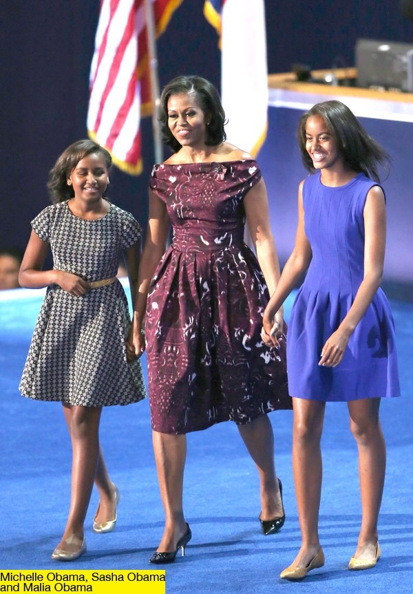 Michelle Obama looked pretty in a Laura Smalls dress for the Democratic National Convention
