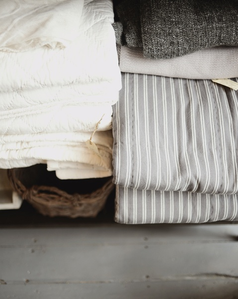 Neutral fabric and pattern mix - White, whicker, ticking stripe, wool