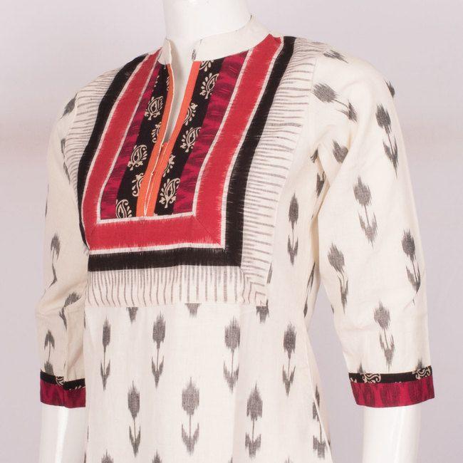 Hand Crafted Cotton Kurta With Ikat Prints, 3/4th Sleeve & Collar Neck 10013526 - AVISHYA.COM