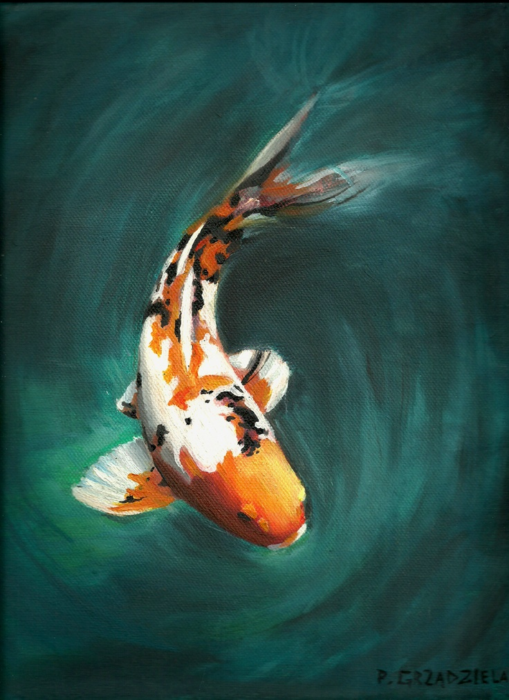 210 best fins paintings of fish images on pinterest for Japanese koi fish painting