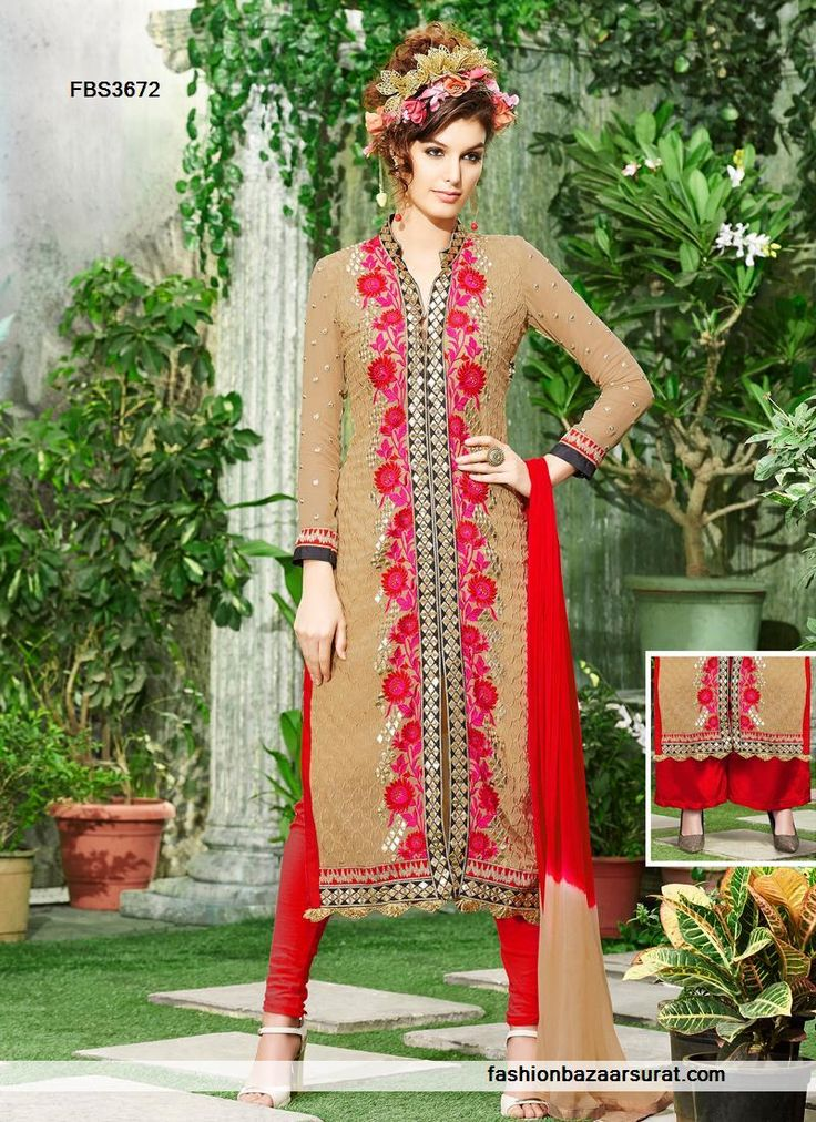 Chikoo Color Georgette Fabric Straight Cut Suit