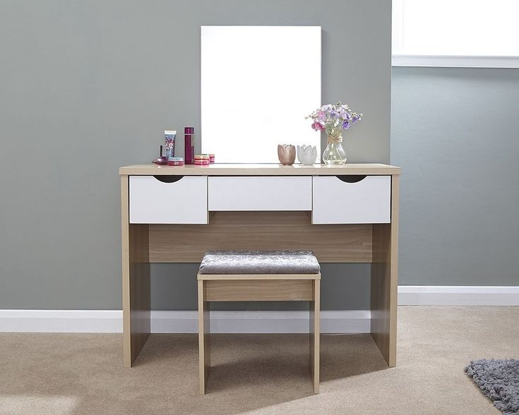 A contemporary dressing table set available in a choice of a colours and featuring three large drawers. The set includes the dressing table, fixed mirror and the matching padded stool. Skip to main content. | eBay!