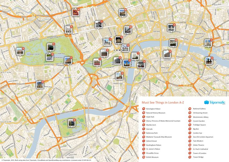 Map of London attractions | Tripomatic.com