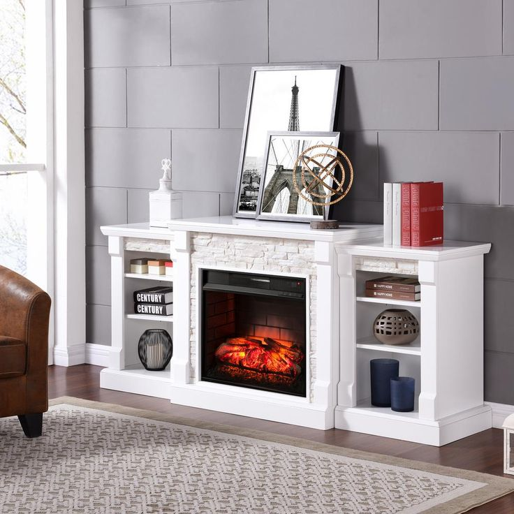 Nassau 71.75 in W Infrared Faux Stone Electric Fireplace w/ Bookcases in White, White W/White Faux River Stone