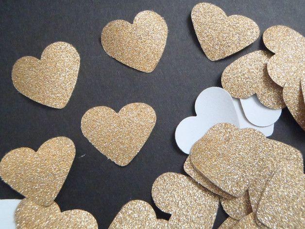 Decorazioni - 109 cuori coriandoli glitter oro natale nozze gay - un prodotto unico di LaSoffittaDiSte su DaWanda