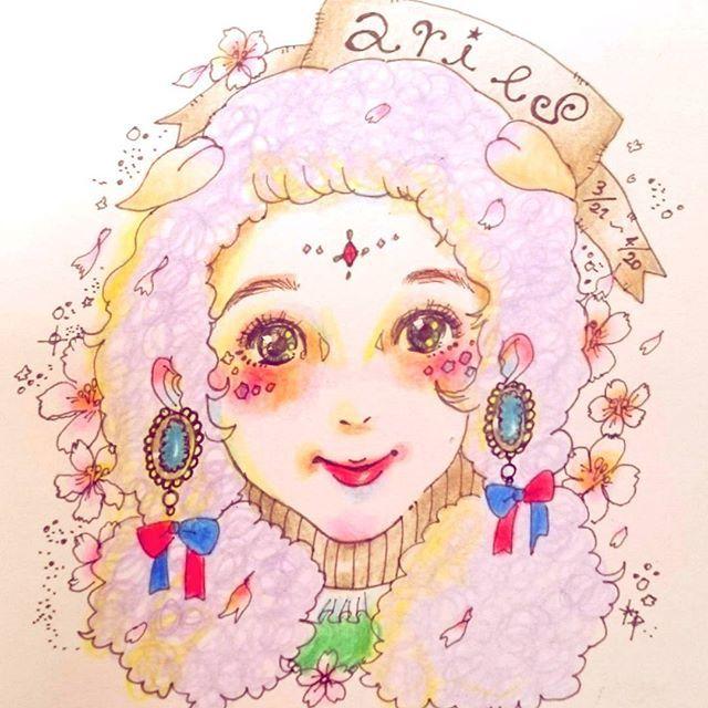 【omori_nigaoe】さんのInstagramをピンしています。 《牡羊座ちゃん♈ #art#portrait#illust#illustration#illustgram#drawing#painting#sketch#colorful#portrait#pencils#aries#似顔絵#イラスト#アート#スケッチ#色鉛筆#牡羊座#星座#占い#桜#春》