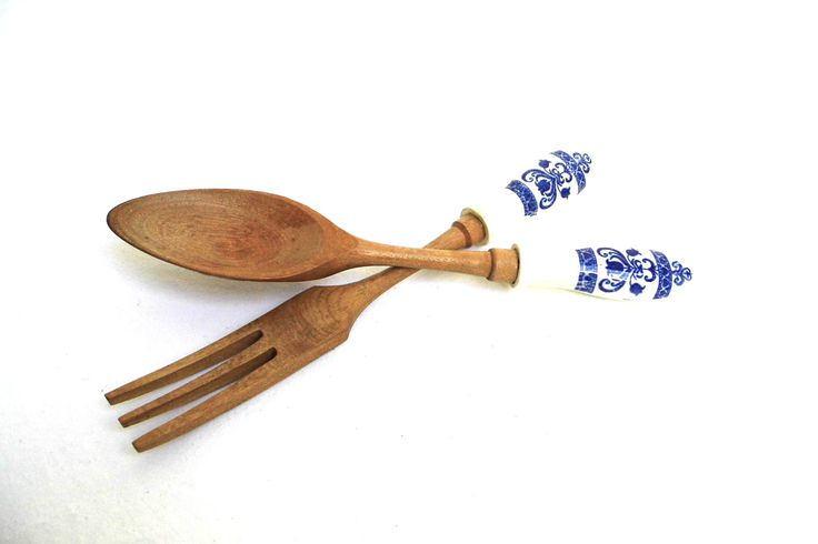 Vintage Set Salad Server Wooden Spoon Fork White Ceramic Handle Floral Blue Mixing Serving Utensils Kitchen Gadgets Wood Farmhouse Decor by WoodHistory on Etsy
