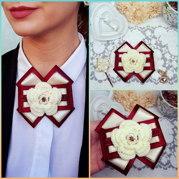 Ivory Bow Brooch, Satin Ribbon Bow Brooch, Burgundy Bow Jewelry, Crochet Brooch, Ivory Brooch Tie, Burgundy Modern Brooch, Neck Jewelry by Rocreanique on Etsy