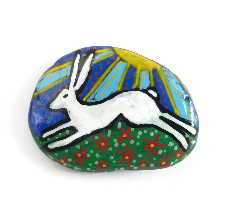 Hand Painted Running Hare Stone Paperweight, White Hare, Hare Art, Hare Illustration, Pebble Paperweight, Hare Keepsake, Hare Lovers Gift by Larryware on Etsy