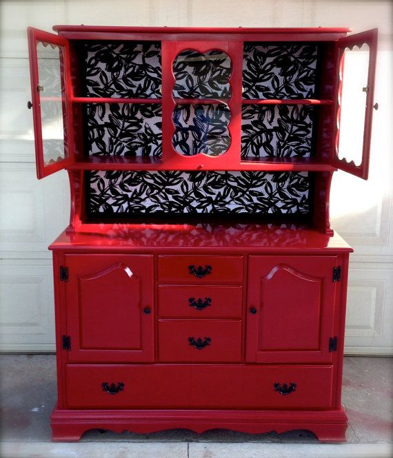Glossy Red Vintage Hutch by RelovedbyDanielle on Etsy
