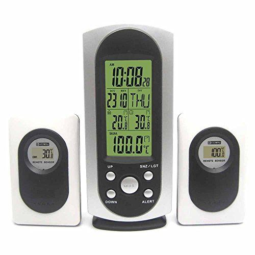 RF Wireless Weather Station with Indoor Ourdoor Sauna Thermometer Remote Sensor Digital Alarm Clock Green Backlight