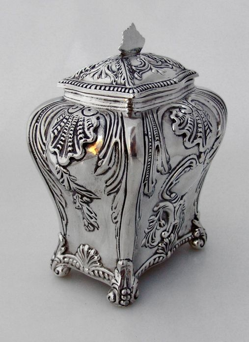 Tea Caddy Baroque Shell Scroll Louis XVI Ferdinand Fuchs Brothers 1885 Sterling Silver: 1885 Sterling, Teas Caddy, Brother 1885, Totally Teas, Ferdinand, Caddy Baroque, Antiques Teas, Baroque Shells, Mine Teas