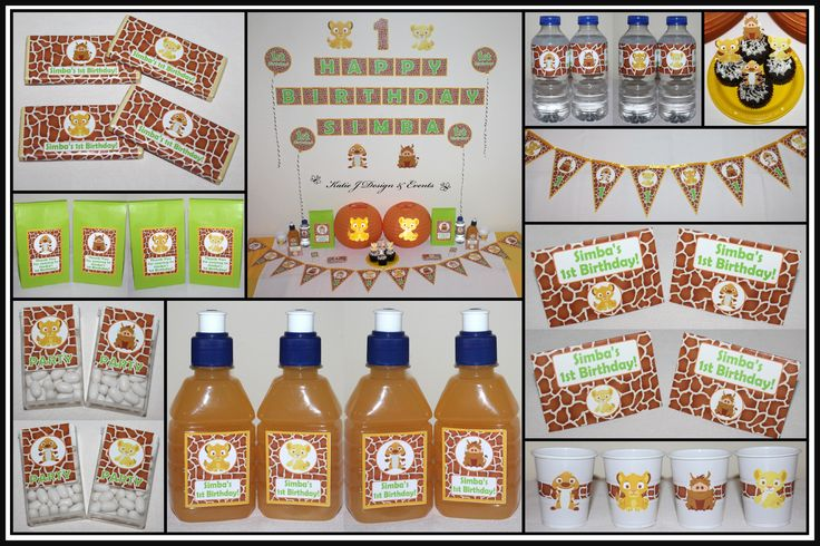 The Lion King Personalised Birthday Party Baby Shower Decorations Supplies Packs Shop Online Australia Banners Bunting Wall Display Cupcake Toppers Chocolate Wrappers Juice Water Pop Top Labels Posters Lanterns Invites Cup Stickers Ideas Inspiration Cake Table Katie J Design and Events Baby Disney Safari Jungle Animals