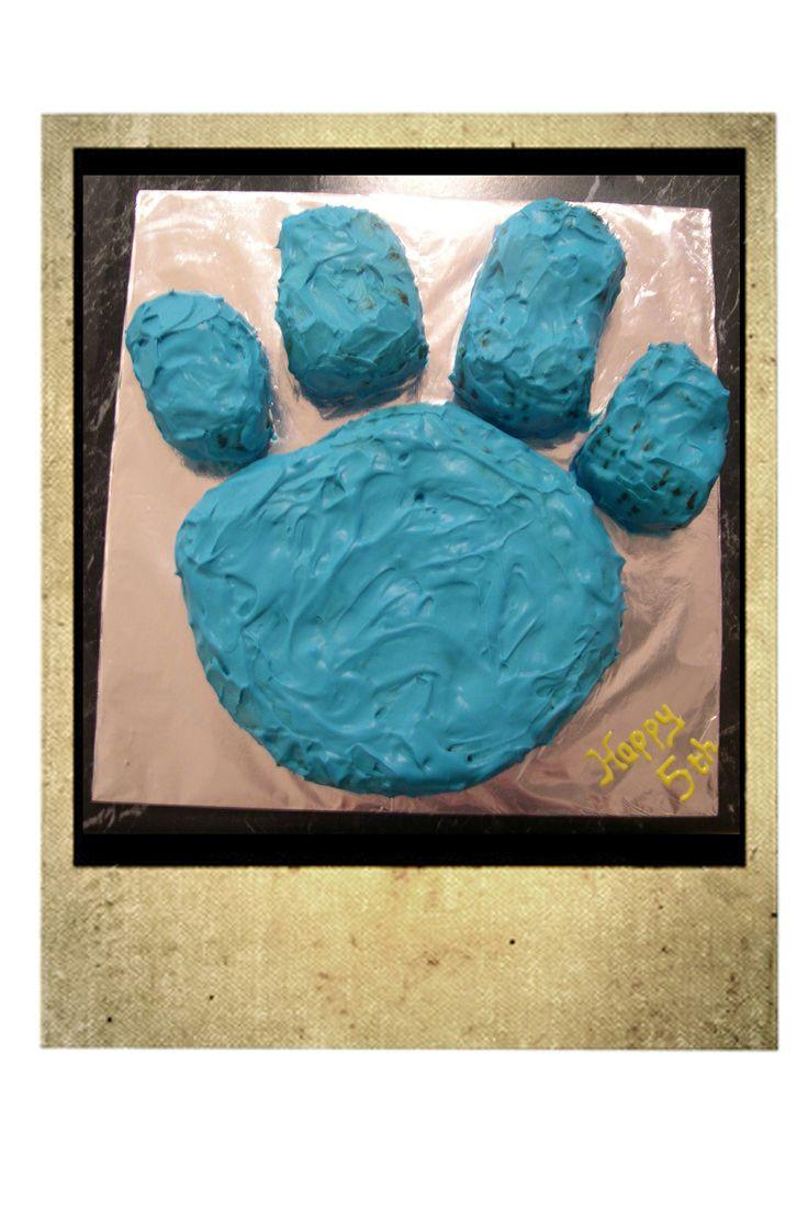 Kira's 5th birthday Blue's Clues cake.  Chocolate Ripple cake with blue tinted cream.
